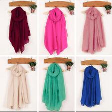Womens Soft Cotton Linen Crinkle Long Soft Scarves Shawl Wraps Stole 180x100cm