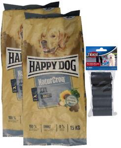 2x15kg Happy Dog Naturcroq Nourriture pour chien adulte Xxl 80 pièces Kotbeutel