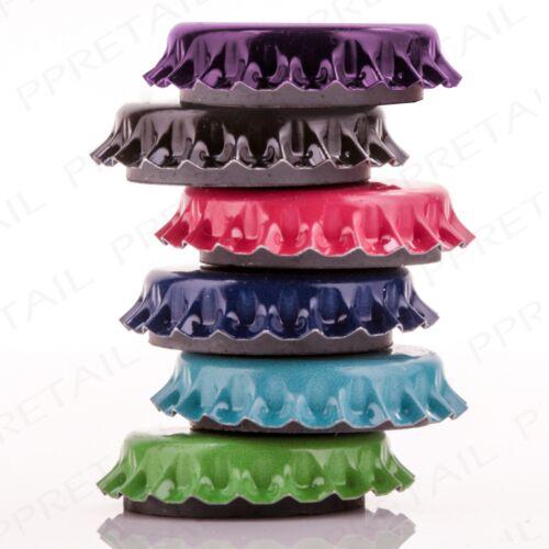 36 x COLOUR BOTTLE TOP FRIDGE MAGNETS Decorative Memo//Message//Note//Paper Holder