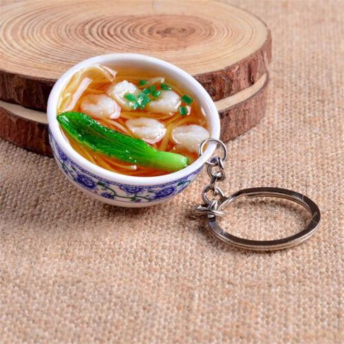 1pcs Simulation Food Delicious Noodles Porcelain Bowl Keyring Keychain Gifts