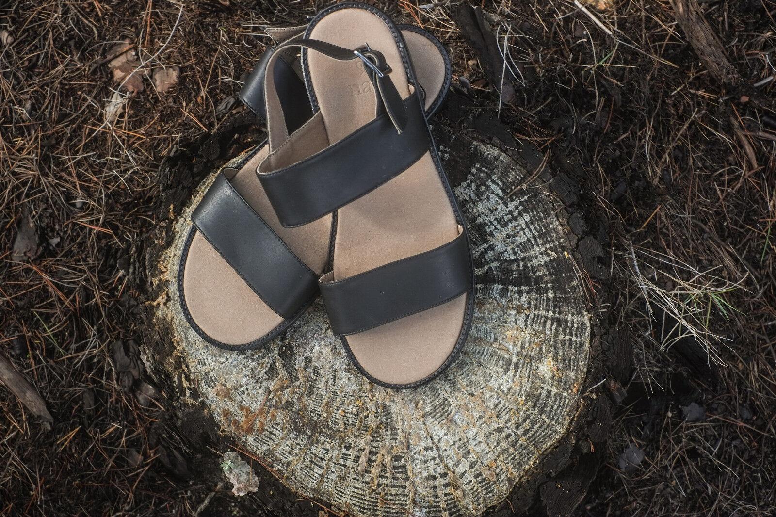 Woman vegan flat Sandalee strapped metal buckle bow slingback gladiator ecological