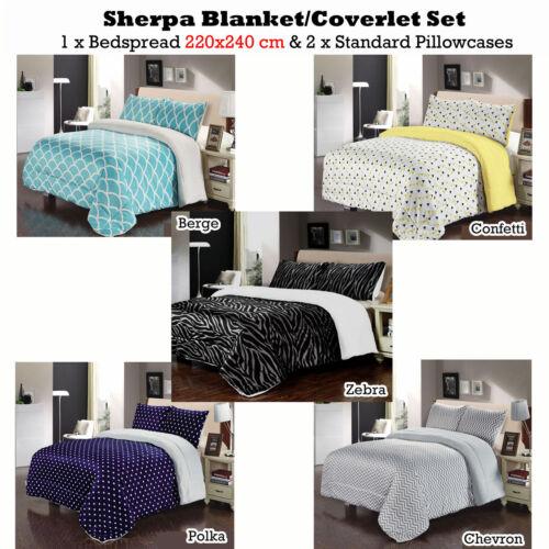 2 Pillowcases QUEEN 3 Pce Aqua Yellow Chevron Zebra Sherpa Blanket Coverlet