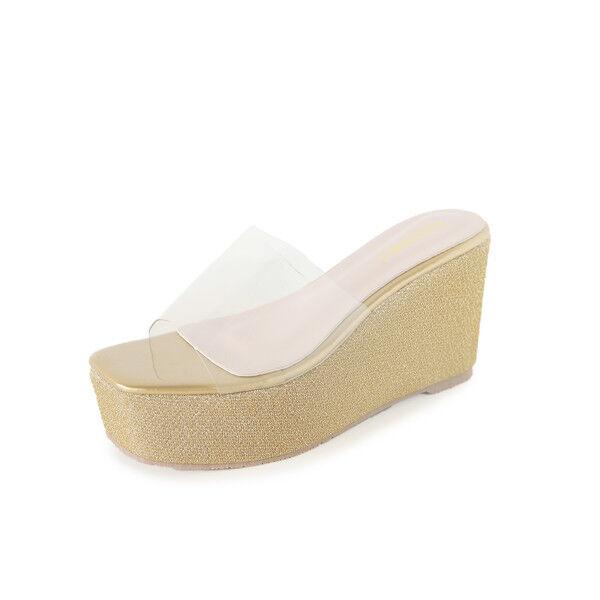 Sandales élégant sabot compensé chaussons 9 or confortable comme cuir 9809