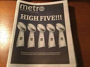 Boston Metro Newspaper Super Bowl LI 51 HIGH FIVE!!! Tom Brady Patriots