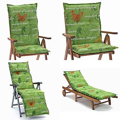 Auflagen 4 Größen für Niederlehner Hochlehner Sessel Relaxsessel Liegen in grün