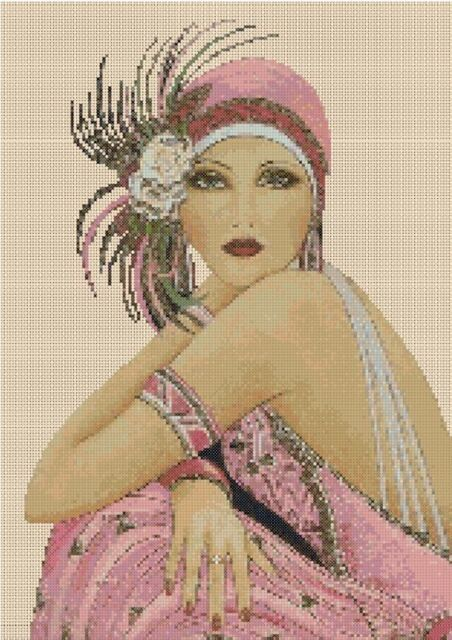Art Deco Lady in PinkCounted Cross Stitch COMPLETE KIT No. 1-29