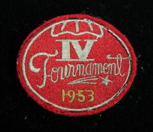 """VINTAGE 1953 SCHOOL TOURNAMENT RED, GRAY, AND YELLOW PATCH 3"""" X 2 1/2"""""""
