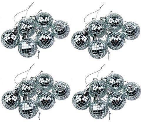Argent 24 Mini Disco Miroir Balle Arbre De Noël Babiole Parti Foyer Décoration Gif