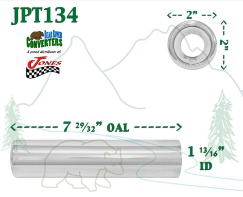 """2/"""" Outlet JPT134 PAIR 1.75/"""" Chrome Pencil Exhaust Tips 1 3//4/"""" Inlet 8/"""" Long"""
