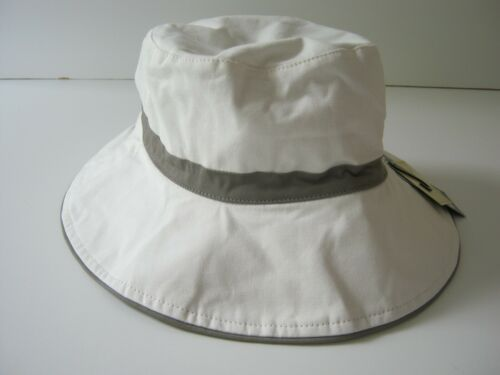 Ladies Sun Hat White Reversible Grey Stripe 100/% Cotton Wide Brim NEW 57cm