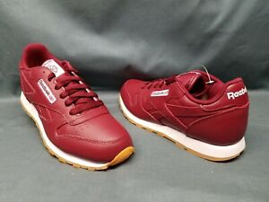 Reebok-Classic-Leather-Gum-Athletic-Sneakers-Red-Merlot-Boys-Size-5-NWOB