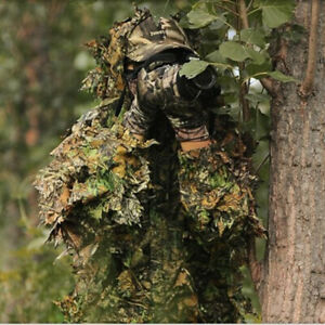 Leaf-Ghillie-Suit-Woodland-Camo-Camouflage-Clothing-3D-jungle-Hunting-M-L