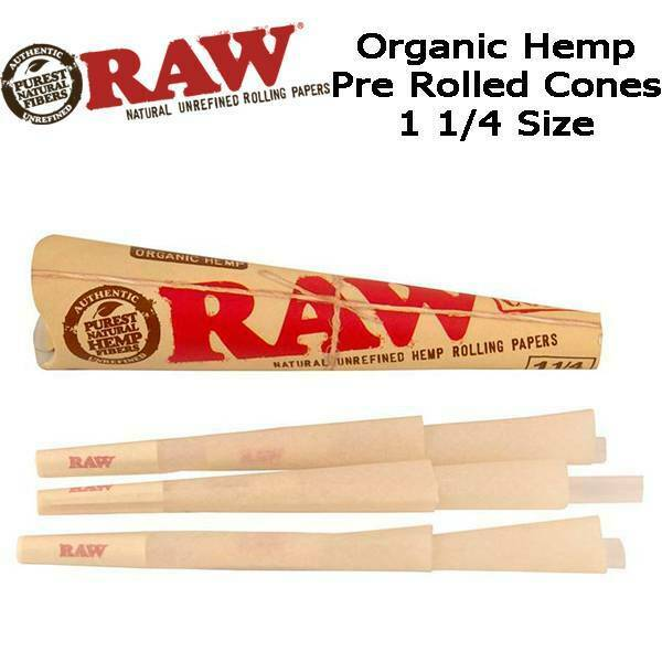 2X RAW Pre-Rolled Classic Hemp Cones - 6 Cones Per Pack Total 12 Papers  1 1/4