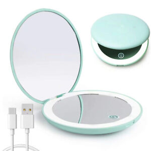 Led-Compact-Mirror-Rechargeable-1x-10x-Magnification-Compact-Mirror-Dimmable