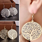 Tree of Life Round Dangle Silver Gold Plated Hook Earrings Women Jewelry Gifts