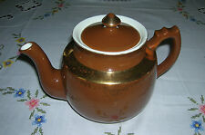 Vintage Hall China Ohio Teapot Brown With Gold Decoration