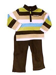 CARTER-039-S-BABY-BOY-2PC-034-Little-Man-034-STRIPED-ZIP-TOP-WITH-BROWN-PANT-SIZE-3M-NWT