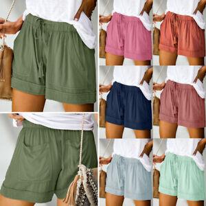 Womens Summer Drawstring Splice Casual Elastic Waist Pocketed Loose Shorts Pants