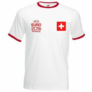 new style 44a57 1d153 Details about Switzerland National Football Team Ringer T-Shirt Euro 2016  Supporters Mens Top