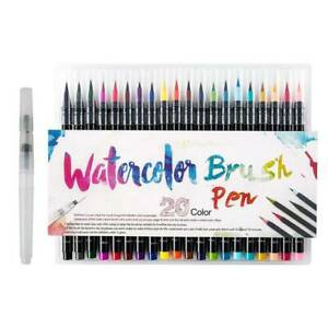 Details About 20 Colors Watercolor Brush Markers Pen A Water Coloring Brush Free Gift