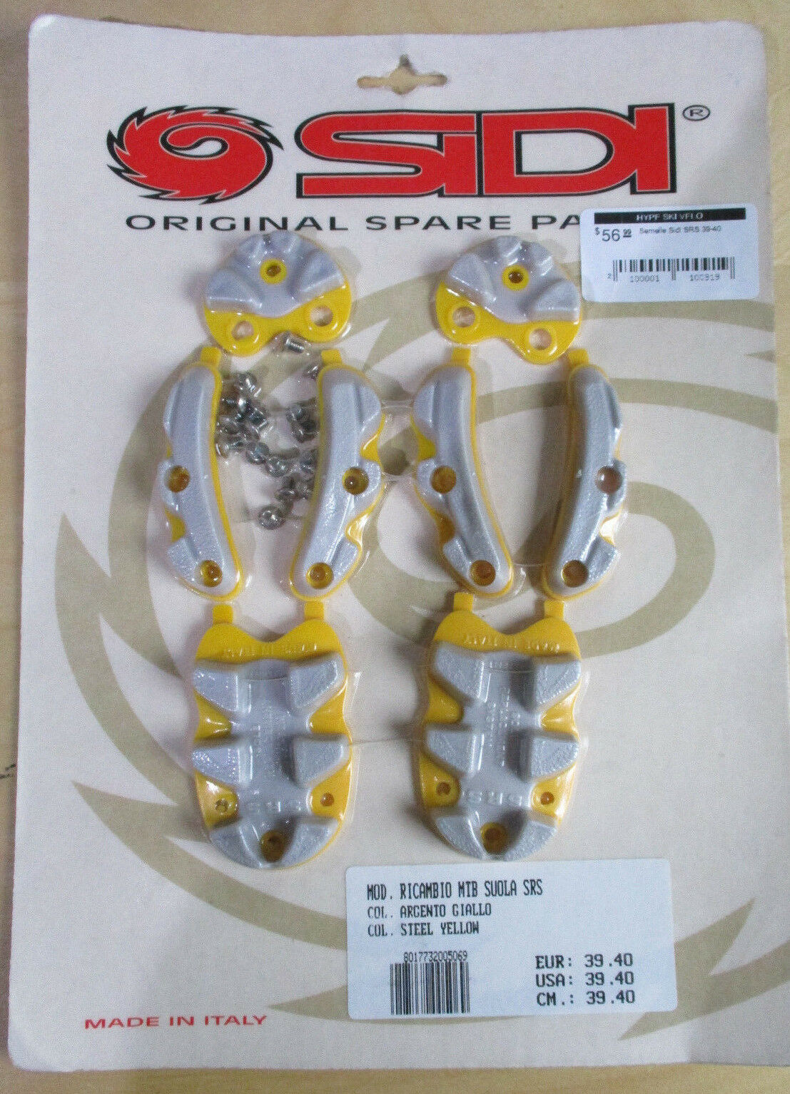 New Sidi SRS Cycling shoes Replacement Sole Rebuild Kit 45-48 Grey Yellow MTB