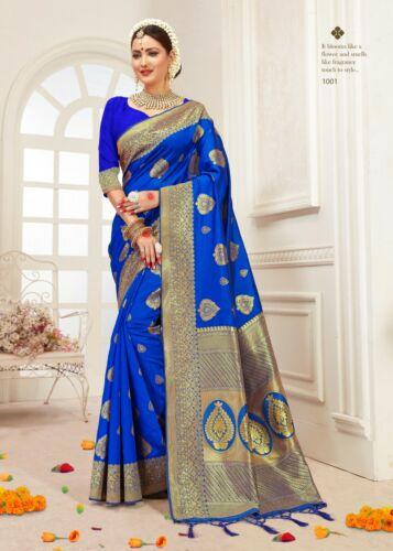 Bollywood Sari Saree /& Blouse Rakhi Gift Blue Woven Banarasi Art Silk 1574