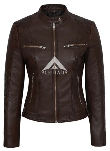 Brown Fashion 8322 Cool Speed Style Jacket Leather Retro Ladies Biker Motorcycle xCUwqa