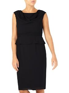 Jacques-Vert-Black-Peplum-Georgette-Shift-Dress-Size-UK-14-EU-42-RRP-159
