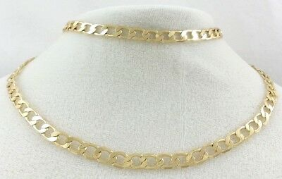 """CHUNKY GOLD TONE SINGLE FLAT LINK CHAIN NECKLACE 24"""" 61cm"""