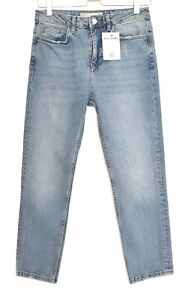 Topshop-Moto-High-Rise-SLIM-LEG-Stonewash-Blue-Ankle-Crop-Jeans-Size-10-W28-L30
