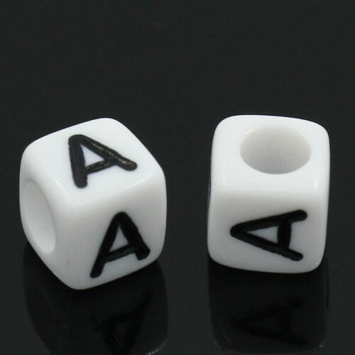 500Pcs White Cube Alphabet Letter Single Letter Beads Jewelry Making