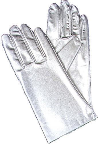 BA07SV Morris Costume New Wrist Length Stretch Nylon Reg Metallic Silver Gloves