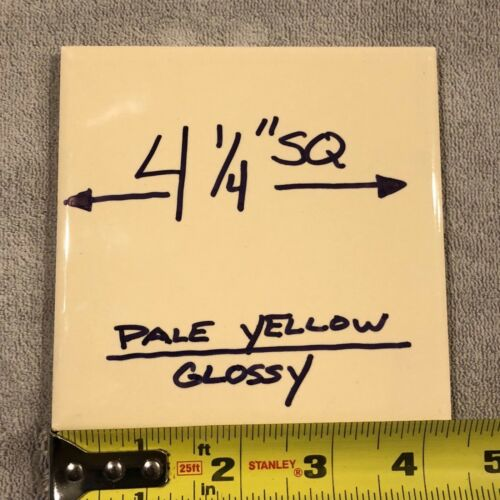 "8 pcs. Vintage Yellow Ceramic Bathroom Kitchen Wall Tile 4 1/4"" Mid Century"
