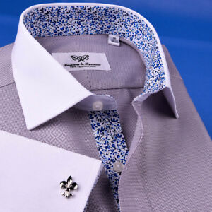 Gray-Business-Formal-Floral-Dress-Shirt-White-Contrast-Double-Cuff-Spread-Collar