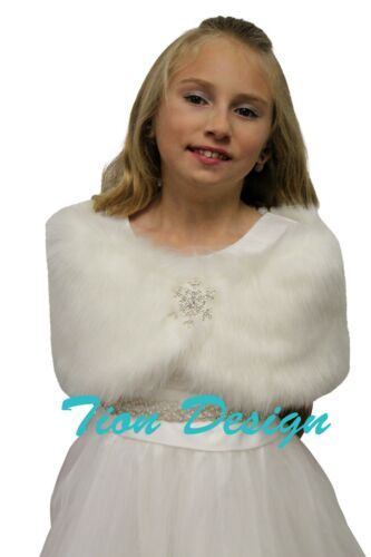 Faux Fur Wrap Fox for FLOWER GIRLS Ivory-Off-white