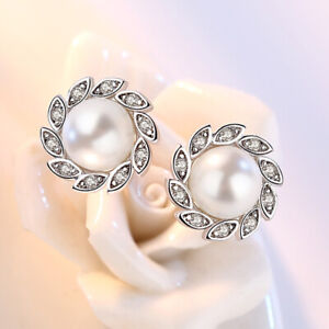 925-Sterling-Silver-Crystal-Leaf-Pearl-Earrings-Stud-Women-Fashion-Jewelry