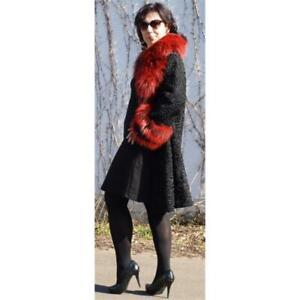 Fur Coat Wide Cock Persian Silver Fox Swakara Belt Fashion Red Black