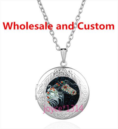 Sucre Fleur cheval Cabochon Tibetan Silver Verre Médaillon Collier Pendentif #4255