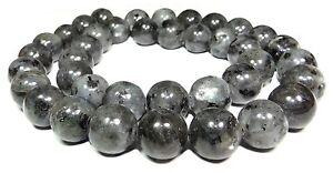 Larvikit-schwarzer-Labradorit-Syenit-Kugeln-4-6-8-amp-10-mm-Perlen-Strang