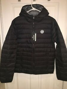 Details about NWT Hollister by Abercrombie LIGHTWEIGHT DOWN HOODED PUFFER JACKET Black XL