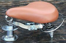 Brown Deluxe Cruiser Bicycle Saddle w Crash Rail Vintage Schwinn Tank Bike Seat