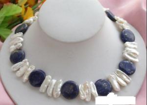 14mm-Natuerliche-Blaue-Muenze-Lapislazuli-amp-Weisse-Biwa-Perlenkette-18-039-039