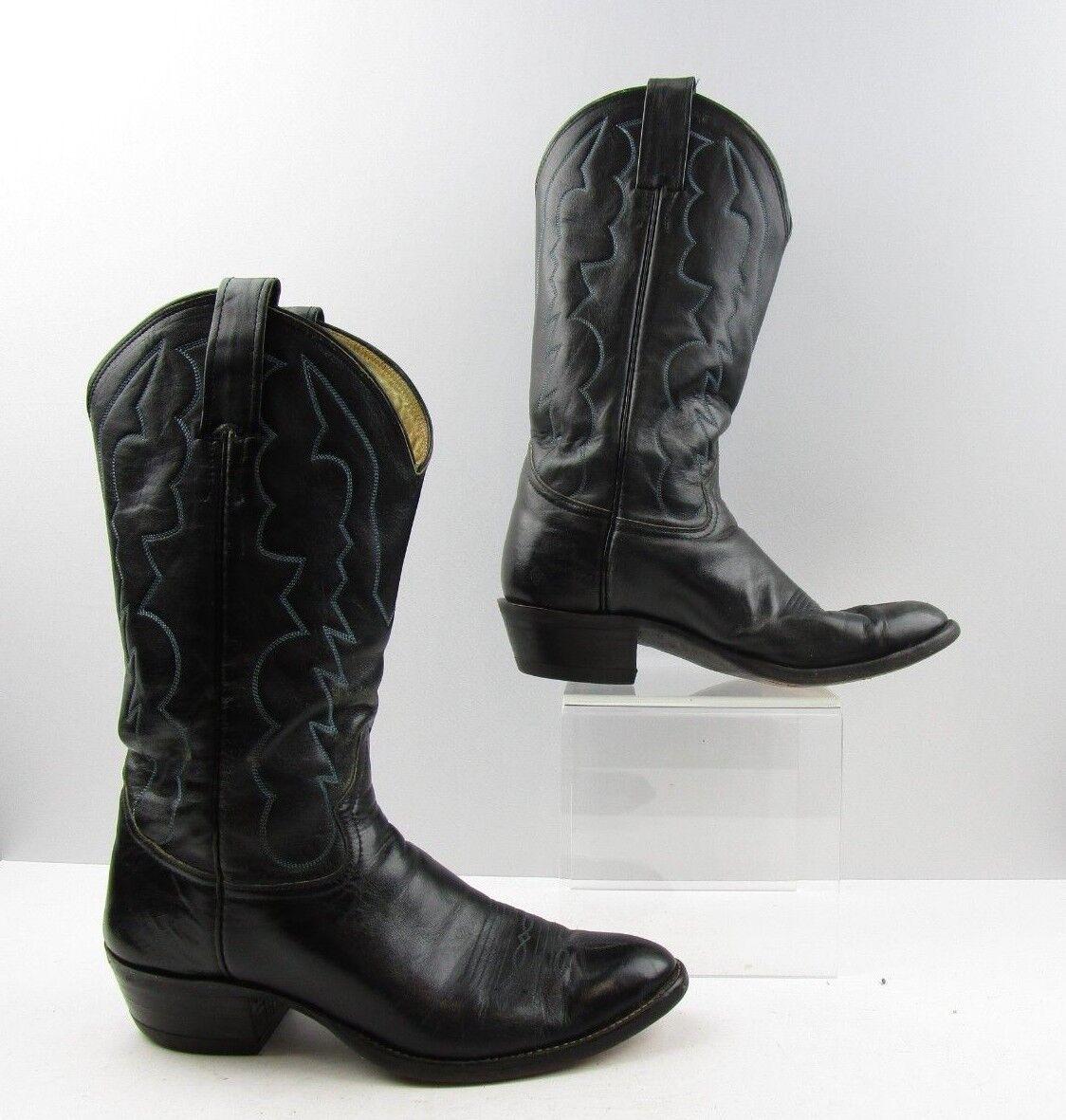 Para hombres Cuero Negro Vaquero Occidental Adam's botas Talla  8 D