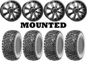 Kit 4 Maxxis Workzone Tires 25x8-12/25x10-12 on Raceline A77 Mamba Black TER