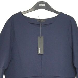 M-amp-S-Marks-Navy-Blue-Autograph-Fluted-Sleeve-Pull-On-Stretch-Shell-Top-s18-BNWT