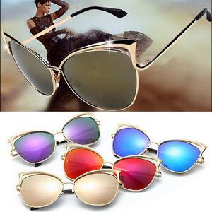 bfb8db082 Women's Gold Retro Cat Eye Sunglasses Classic Designer Vintage ...