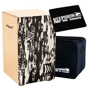 Collection Ici Schlagwerk Cp 4017 Cajon La Peru Noir Eyes + Keepdrum Gig Sac + Cp-01 Pad