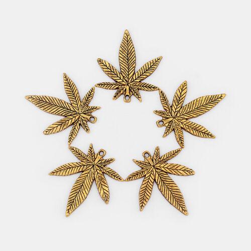 10Pcs Antique Gold Cannabis Marijuana Leaf Weed Charms Pendentif Perles 34*39mm