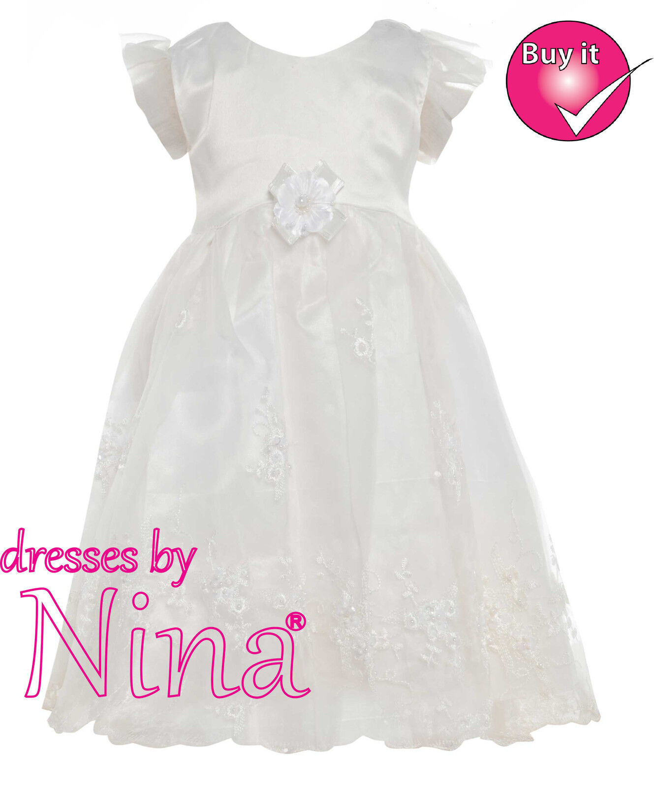 Girl Ivory christening dress / Traditional Christening Gown / Bridesmaid 0 - 24m