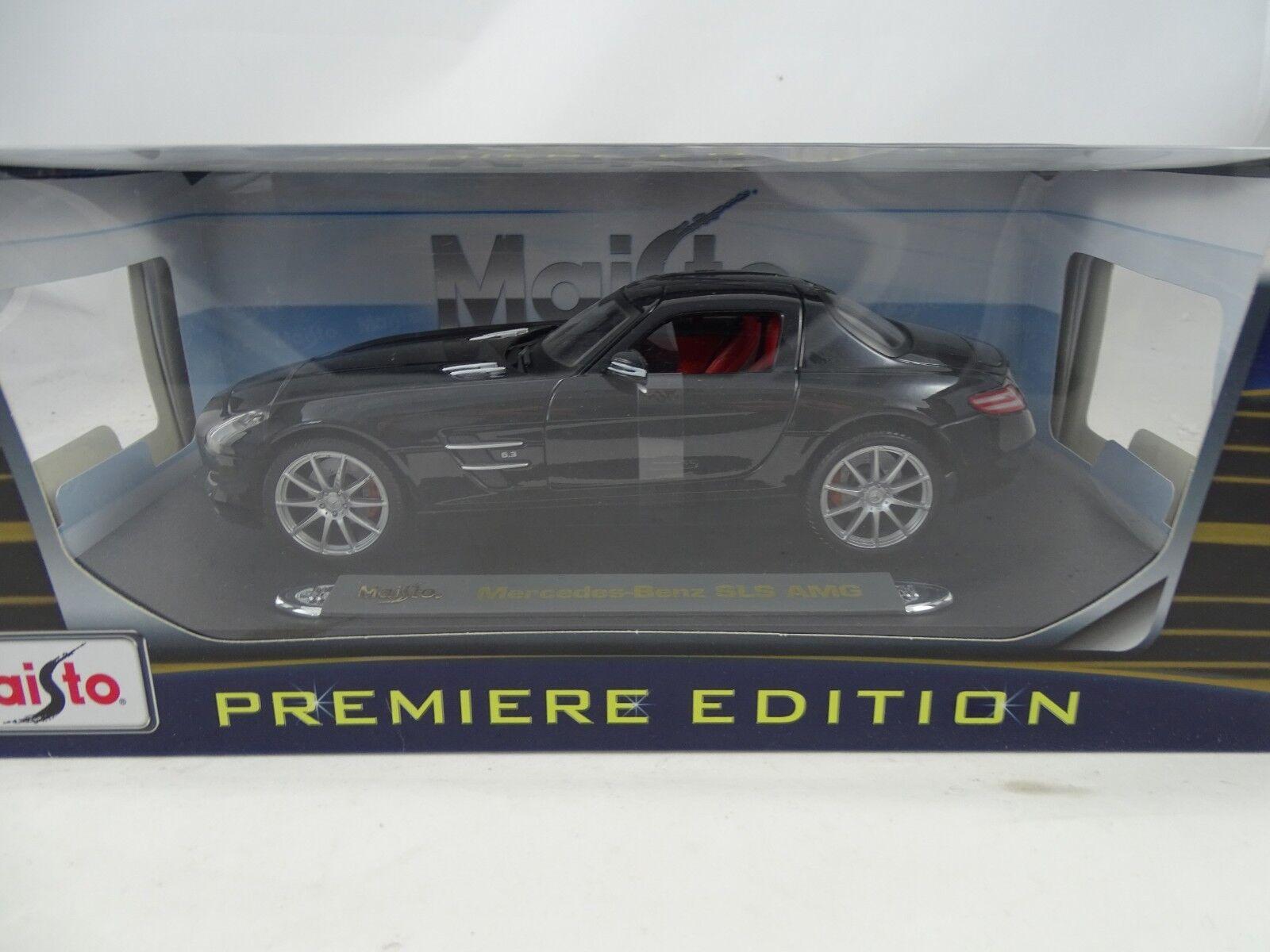 1 18 Maisto Premiere Edition   36196 Mercedes-Benz SLS AMG schwarzmet. - RARITÄT